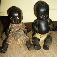 Antique Vintage Japan Black Baby Dolls Jointed Diapers Bisque Old | eBay