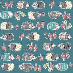 Hedgehogs Blue - Organic - Cotton