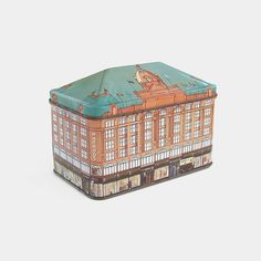 1983 Harrods 'By Day & Night' Vintage Tin - large illustrated storage container tea caddy biscuit cookie jar collectible old London 1980s