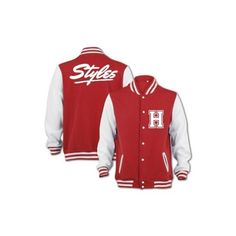 Bang Tidy Clothing Unisex Styles Varsity Jacket ($56) ❤ liked on Polyvore featuring outerwear, jackets, one direction, shirts, jaquetas, varsity style jacket, red varsity jacket, varsity bomber jacket, unisex jackets and letterman jackets