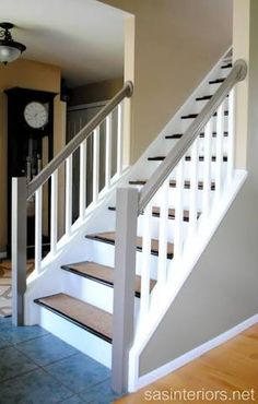 Ideas interior stairs staircase makeover basement steps for 2019 Redo Stairs, Open Stairs, House Stairs, Refinish Stairs, Stair Banister, Banisters, Wood Railing, Stair Treads, Basement Steps