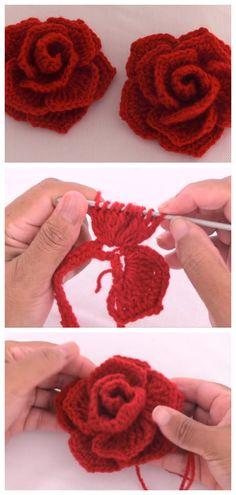 Crochet Easy Woven Rose Flower - Crochet Ideas - Nadiren O Crochet Video, Easy Crochet, Crochet Baby, Knit Crochet, Crochet Trim, Crotchet, Crochet Flower Tutorial, Crochet Flower Patterns, Knitting Patterns