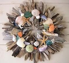 driftwood and shells wreath- hot glue is great, but try Liquid Nails adhesive for this one!