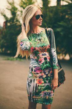 abstract Hawaiian print dress
