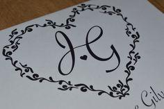 Monograma de Coração inspirado no monograma do casamento da Fernanda Souza e do Thiaguinho.   R$ 25,00   Loja de Convites e Papelaria para Casamento - Por Mira Melke