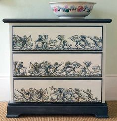The creative piece was achieved with the ancient craft of decoupage.  If you do it the old fashioned way, be patient; if you cheat and modge podge,...well the choice is yours - the look will be the similar.    (Dishfunctional Designs)