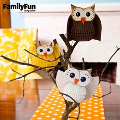 Make An Adorable Paper Owl Craft: This statuesque owl was hatched from humble origins -- namely, a cardboard tube and paper cupcake liners -- so you don't need to be talon-ted to make one!