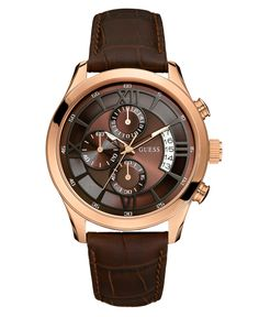 GUESS Watch, Men's Chronograph Brown Croc Embossed Leather Strap 46mm