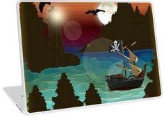 Pirate Ship Moonlight Voyage    Design available for PC Laptop, MacBook Air, MacBook Pro, & MacBook Retina