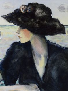 An elegant woman in black sits seaside in this entrancing oil painting by Jean-Pierre Cassigneul ~ M.S. Rau Antiques