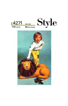 "70s Childrens' Oversized Stuffed Toy: Majestic Lion, approx 27.5"" (70 cm) high, Style 4271, Vintage Sewing Pattern Reproduction Mane N Tail, Vintage Sewing Patterns, Winnie The Pooh, Disney Characters, Fictional Characters, Lion, Stuffed Toys, Prints"