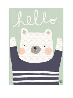 Polarbear Hello Poster