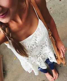 Lace peplum top with