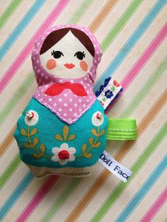 My First Baby Matryoshka Crinkle Doll by dollfacethreads on Etsy