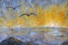 Sunset at sea - romantic landscape - nature inspired - sun, summer, sea, waves, seagulls - wall art - nuno felt picture - free shipping