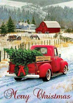 Custom Decor Christmas Truck x Garden Flag Christmas Red Truck, Christmas Scenes, Country Christmas, Christmas Art, Christmas Greetings, Winter Christmas, Christmas Decorations, Xmas, Vintage Christmas Images