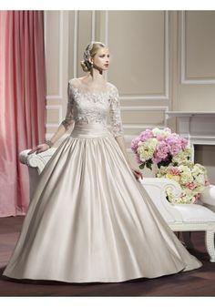 Tank Top Chapel Train Satin Ball Gown Wedding Dress