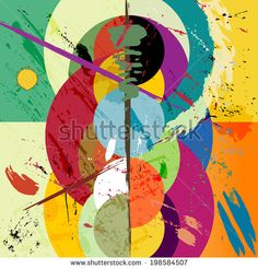 abstract circle background, retro/vintage style with paint strokes and splashes, grungy - stock vector Image ID: 198584507