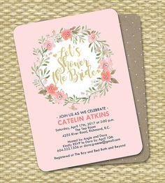 Floral Bridal Shower Invitation Pink Slate by SunshinePrintables
