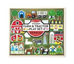 The set of farm-themed animals, buildings and play pieces in this Melissa & Doug Wooden Farm & Tractor Play Set includes a wheeled tractor that pulls a flat-bed trailer, sized to transport the farm animals all around the farm. Pet Toys, Kids Toys, Baby Toys, Farm Animal Toys, Farm Animals, Apple Birthday, Wooden Playset, Melissa & Doug, Imaginative Play