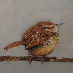 "Daily Paintworks - ""WREN Original BIRD Art 6X6 Painting OIL"" - Original Fine Art for Sale - © Colette Davis"