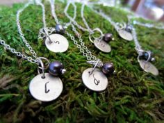 Simple little silver initial and pearl necklaces - for bridesmaids or just one for yourself