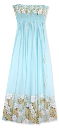Omg I love this...    Free joyous Hawaiian flowers in a Hawaiian maxi dress with shaping smocked bust and adjustable tie shoulders. Comfortable, fitted bodice in a slight A-line shape. Wear it with tied straps or strapless. & Made in Hawaii.