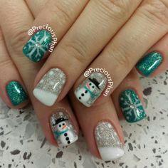 Snowman, snowflakes. christmas nails.