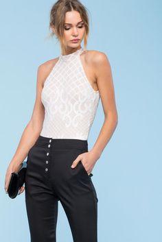 A GACI l Ava Lace Halter Bodysuit l  BoutiqueFive Halter Bodysuit 9326330fc