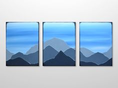 Original Triptych Mountain Range Silhouette Landscape  Painting - Blue, Grey Acrylic Canvas Texture Abstract Modern Wall Art Home Decor by gilliansarah on Etsy