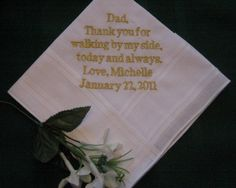 Personalized Wedding Gift - Wedding handkerchief -for Father of the Bride with Gift Box 19B. $22.00, via Etsy.