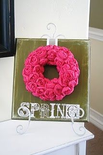 I love this wreath, made with crepe paper roses!
