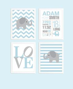 Chevron Birth Stats Baby Boy Birth Date Print - Baby Boy Nursery Art Decor - Elephant Nursery Art - Personalized