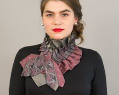 Upcycled Necktie Scarf Silk Ascot Collar Made From Ruffled Repurposed Vintage Men's Neckties Steampunk Victorian Preppy Unique Gift For Her