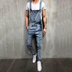 13299b8d6839 US Size Men Ripped Denim Jumpsuit Overalls Jean Casual Suspenders Pants Men  Fashion Hip Hop Jumpsuit