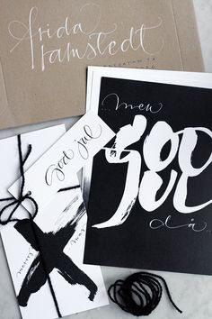I love the handmade quality here--the graphic-looking brushstroke lettering, the twine ties, the black and white mixed with kraft paper. It feels fresh yet classic and represents local design. Typography Love, Typography Inspiration, Typography Letters, Graphic Design Typography, Graphic Design Inspiration, Design Graphique, Art Graphique, Calligraphy Letters, Modern Calligraphy
