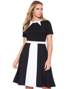 Fit and Flare Colorblock Dress from eloquii.com #curvyfashion #fallfashion #plussize