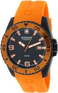 Swiss Military Hanowa Men's Ranger 06-4200-27-007-79 Orange Rubber Swiss Quartz Watch with Black Dial Swiss Military Hanowa. $97.99. 47mm Case Diameter. Swiss Quartz Movement. 50 Meters / 165 Feet / 5 ATM Water Resistant. Synthetic Sapphire Crystal. Ranger Collection