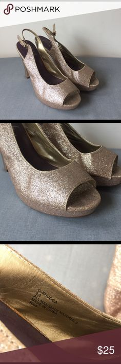 Rose Gold glitter high heels Stunner shoes - rose gold, glitter, perfect punch up to any classic outfit or for a night out! Steve Madden Shoes Heels
