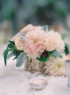Blush Dahlia Centerpiece | photography by http://josevillablog.com/ | floral design by http://www.southern-blooms.com/