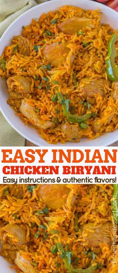 Chicken Biryani - Dinner, then Dessert- Chicken Biryani is a bold and flavorful Indian dish with crazy tender bites of chicken with bell peppers in a deliciously spiced and fragrant rice. Asian Recipes, Mexican Food Recipes, Beef Recipes, Vegetarian Recipes, Cooking Recipes, East Indian Food Recipes, Ethnic Food Recipes, Recipies, Biryani Chicken
