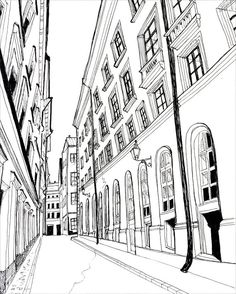 HOLIDAY Fine Art Print Stockholm Pen and Ink Black and White - 5 x 7. $9.00, via Etsy.