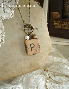 Vintage SCRABBLE Tile Necklace. Letter P Necklace in Antiqued Brass Filigree. Initial Jewelry. Toggle Necklace. Rustic Upcycled Jewelry.
