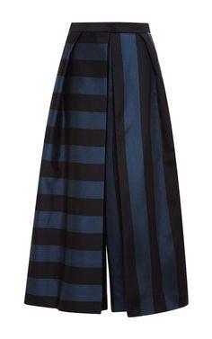Striped Silk Culottes by Tibi - Moda Operandi Silk Pants, Pleated Pants, Stripe Pants, Anna Wintour, Fashion Pants, Fashion Outfits, Wrap Pants, Culottes, Unisex Fashion