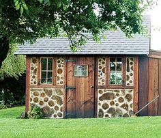 Gail and Mark Dupar's cordwood shed on Decatur Island in Washington's San Juans. Image: John Granen, Kathleen Brenzel, www.blog.drummondhouseplans.com