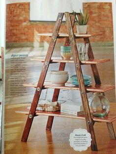 Ladder shelf - love this idea. Saw it at a mom's house and thought it was awesome!