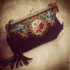 """Купить Нарядный клатч """"Барокко"""" с микровышивкой - черный, цветочный, клатч ручной работы"""