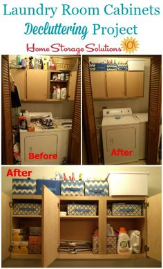 Decluttering laundry room cabinets project, before and after {featured on Home Storage Solutions 101}