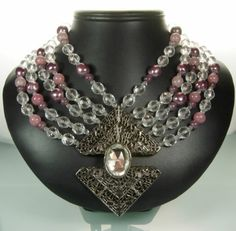 70s Pellini Italy Gunmetal and Glass Statement Necklace