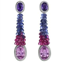 Chopard - Earrings with kunzites, rubellites, briolette-cut iolites and amethysts, white diamonds